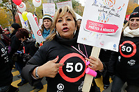 Montreal, CANADA - File - CSN-FIPEQ Union members  Demonstration against the  austerity measures proposed  by the Quebec Liberal Goverment, Oct 20 , 2014.