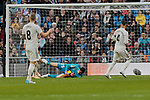 Real Madrid's (L-R) Toni Kroos, Thibaut Courtois and Sergio Ramos during La Liga match between Real Madrid and Real Valladolid at Santiago Bernabeu Stadium in Madrid, Spain. November 03, 2018. (ALTERPHOTOS/A. Perez Meca)