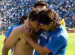 Cruz Azul forward Miguel Sabah (L) celebrates his goal with his teamate Gabriel Pereyra during their soccer match against America Aguilas at the Azul Stadium in Mexico City, April 15, 2006. America won 3-1 to Cruz Azul... Photo by © Javier Rodriguez