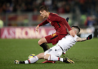 Calcio, Serie A: AS Roma vs Cagliari, Roma, stadio Olimpico, 16 dicembre 2017.<br /> Roma's Patrik Schick (back) in action with Cagliari's Fabio Pisacane (front) during the Italian Serie A football match between AS Roma and Cagliari at Rome's Olympic stadium, December 16, 2017.<br /> UPDATE IMAGES PRESS/Isabella Bonotto