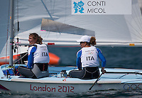 10.08.2012, Bucht von Weymouth, GBR, Olympia 2012, Segeln, Damen, 470er, Medaillenfahrt, im Bild Giulia Conti, Giovanna Micol (ITA) // Giulia Conti, Giovanna Micol (ITA) during Sailing women's medal race 470er at the 2012 Summer Olympics at Bay of Weymouth, United Kingdom on 2012/08/10. EXPA Pictures © 2012, PhotoCredit: EXPA/ Johann Groder .Olimpiadi Londra 2012.London 2012 Olympic Games.foto Insidefoto - Italy ONLY