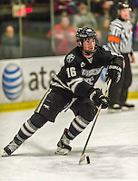 29 December 2014: Providence College Friar Defenseman Anthony Florentino, a Sophomore from West Roxbury, MA, in second period action against the University of Vermont Catamounts during the deciding game of the annual TD Bank-Sheraton Catamount Cup Tournament at Gutterson Fieldhouse in Burlington, Vermont. The Friars shut out the Catamounts 3-0 to win the 2014 Cup. Mandatory Credit: Ed Wolfstein Photo *** RAW (NEF) Image File Available ***