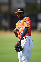 GCL Astros Edgar Lorenzo (41) during warmups before the first game of a doubleheader against the GCL Mets on August 5, 2016 at Osceola County Stadium Complex in Kissimmee, Florida.  GCL Astros defeated the GCL Mets 4-1 in the continuation of a game started on July 21st and postponed due to inclement weather.  (Mike Janes/Four Seam Images)