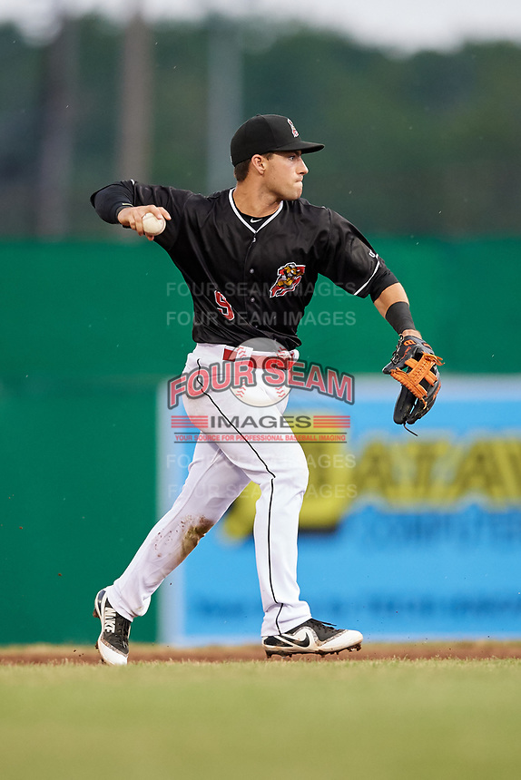 Batavia Muckdogs second baseman Denis Karas (9) throws to first base during a game against the Williamsport Crosscutters on June 22, 2018 at Dwyer Stadium in Batavia, New York.  Williamsport defeated Batavia 9-7.  (Mike Janes/Four Seam Images)