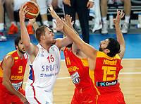 "Vladimir Stimac of Serbia in action during European basketball championship ""Eurobasket 2013"" quarter-final basketball game between Serbia and Spain in Stozice Arena in Ljubljana, Slovenia, on September 18. 2013. (credit: Pedja Milosavljevic  / thepedja@gmail.com / +381641260959)"