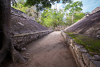Mayan Ball Court with two Scoring Rings, Coba, Riviera Maya, Yucatan, Mexico.
