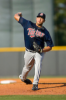 Starting pitcher Angelo Sanchez #47 of the Elizabethton Twins in action versus the Burlington Royals at Burlington Athletic Park July 19, 2009 in Burlington, North Carolina. (Photo by Brian Westerholt / Four Seam Images)