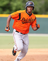 Baltimore Orioles second baseman Garabez Rosa #15 during an Instructional League game against the Minnesota Twins at the Buck O'Neil Complex on October 8, 2011 in Sarasota, Florida.  (Mike Janes/Four Seam Images)