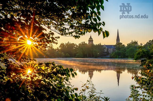 July 6, 2020; St. Mary's Lake sunrise (Photo by Matt Cashore/University of Notre Dame)