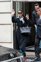 August 8th 2017 - Paris, France - Singer Celine Dion and her dancer Pepe Munoz leave the Royal Monceau hotel on avenue Hoche