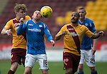 Motherwell v St Johnstone….07.05.16  Fir Park, Motherwell<br />Danny Swanson is crowded out by Chris Cadden and Lionel Ainsworth<br />Picture by Graeme Hart.<br />Copyright Perthshire Picture Agency<br />Tel: 01738 623350  Mobile: 07990 594431