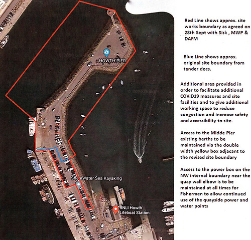 Site plan showing (red line) the agreed limits of the boundary of the works. This will enable much of the harbour – including the public slipway beside the Lifeboat Station