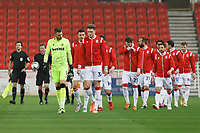 (L-R) Angus Gunn and Harry Souttar of Stoke City leads their team onto the pitch prior the Sky Bet Championship match between Stoke City and Swansea City at the Bet365 Stadium, Stoke on Trent, England, UK. Wednesday 03 March 2021