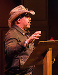 Artown Board of Directors Chairman Oliver X talks about how to build Artown during the Take 5 fundraiser at the Bruka Theatre on Saturday night, Jan. 13, 2018.