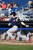State College Spikes shortstop Andrew Sohn (11) at bat during a game against the Batavia Muckdogs on June 22, 2014 at Dwyer Stadium in Batavia, New York.  State College defeated Batavia 10-3.  (Mike Janes/Four Seam Images)