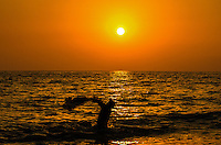 Fine Art Print Photograph, Sunset in Banderas Bay, Puerto Vallarta, Mexico. Net fisherman casting his fishing net in to the golden rays of the setting sun.