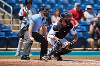 Kannapolis Cannon Ballers catcher Adam Hackenberg (29) on defense as home plate umpire Lane Cullipher looks on during the game against the Lynchburg Hillcats at Atrium Health Ballpark on August 29, 2021 in Kannapolis, North Carolina. (Brian Westerholt/Four Seam Images)