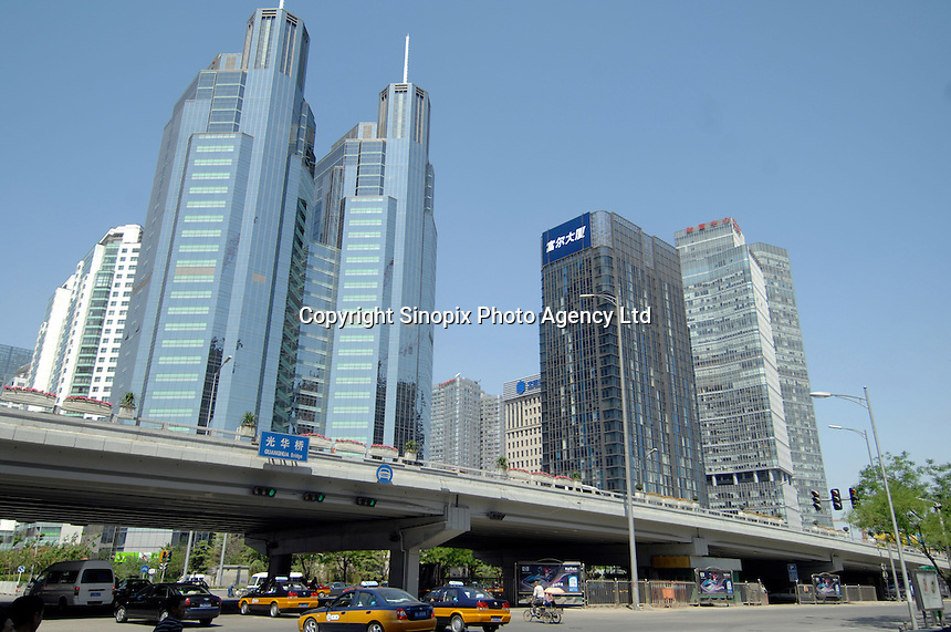 Beijing's Central Business District (CBD). The area is being built at a break-neck pace in order to be complete and ready for the opening of the Beijing olympics in 2008..