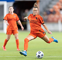 HOUSTON, TX - SEPTEMBER 10: Gabby Seiler #5 of the Houston Dash passes the ball to a teammate during a game between Chicago Red Stars and Houston Dash at BBVA Stadium on September 10, 2021 in Houston, Texas.