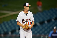 Bowie Baysox starting pitcher Matthew Grimes (38) gets ready to deliver a pitch during the second game of a doubleheader against the Trenton Thunder on June 13, 2018 at Prince George's Stadium in Bowie, Maryland.  Bowie defeated Trenton 10-1.  (Mike Janes/Four Seam Images)