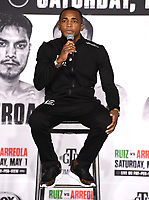LOS ANGELES, CA - APRIL 29: Erislandy Lara attends the undercard press conference for the Andy Ruiz Jr. vs Chris Arreola Fox Sports PBC Pay-Per-View in Los Angeles, California on April 29, 2021. The PPV fight is on May 1, 2021 at Dignity Health Sports Park in Carson, CA. (Photo by Frank Micelotta/Fox Sports/PictureGroup)