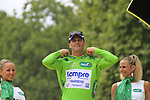 Alessandro Petacchi (ITA) Lampre-Farnese Vini on the podium after securing the points Green Jersey at the end of Stage 20 of the 2010 Tour de France running 102.5km from Longjumeau to Paris Champs-Elysees, France. 25th July 2010.<br /> (Photo by Eoin Clarke/NEWSFILE).<br /> All photos usage must carry mandatory copyright credit (© NEWSFILE | Eoin Clarke)