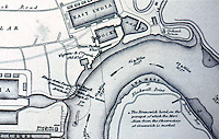 London: Historical--Detail of James Elmes' Chart, East India Dock, 1837. From CITY AND RIVER, Chris Ellmers.   Reference only.