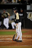 UCF Knights Matt Archer (2) bats during a game against the Siena Saints on February 14, 2020 at John Euliano Park in Orlando, Florida.  UCF defeated Siena 2-1.  (Mike Janes/Four Seam Images)