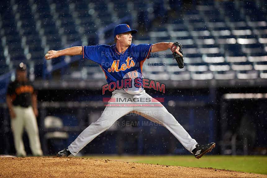 Pitcher Austin Franklin (10) of Paxton High School in Paxton, Florida playing for the New York Mets scout team during the East Coast Pro Showcase on July 28, 2015 at George M. Steinbrenner Field in Tampa, Florida.  (Mike Janes/Four Seam Images)