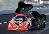 Nov. 9, 2012; Pomona, CA, USA: NHRA funny car driver Jim Head during qualifying for the Auto Club Finals at at Auto Club Raceway at Pomona. Mandatory Credit: Mark J. Rebilas-