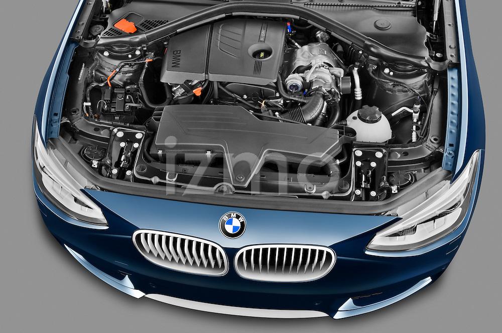 High angle engine detail of a 2011 - 2014 BMW 118d 5 Door hatchback.