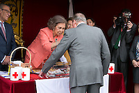 King Juan Carlos I Visit Queen Sofia at her Red Cross Stand on the FLAG DAY in Madrid, Spain. October 8, 2014. (ALTERPHOTOS/Carlos Dafonte)
