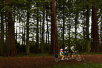 Mother and 2 children on 3 seater Tandem mountain bike , Ashton Court , Bristol , September 2011 pic copyright Steve Behr / Stockfile