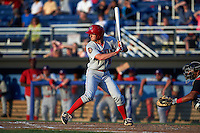 Auburn Doubledays outfielder Andrew Stevenson (3) at bat during a game against the Batavia Muckdogs on July 10, 2015 at Dwyer Stadium in Batavia, New York.  Auburn defeated Batavia 13-1.  (Mike Janes/Four Seam Images)