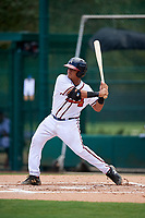 GCL Braves designated hitter Wiston Cerrato (12) at bat during the second game of a doubleheader against the GCL Yankees West on July 30, 2018 at Champion Stadium in Kissimmee, Florida.  GCL Braves defeated GCL Yankees West 5-4.  (Mike Janes/Four Seam Images)