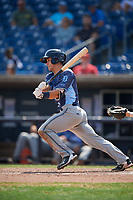 West Michigan Whitecaps catcher Brady Policelli (6) grounds out during a game against the Quad Cities River Bandits on July 23, 2018 at Modern Woodmen Park in Davenport, Iowa.  Quad Cities defeated West Michigan 7-4.  (Mike Janes/Four Seam Images)