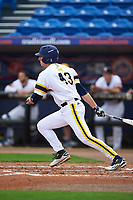 Michigan Wolverines first baseman Carmen Benedetti (43) at bat during the first game of a doubleheader against the Canisius College Golden Griffins on June 20, 2016 at Tradition Field in St. Lucie, Florida.  Michigan defeated Canisius 6-2.  (Mike Janes/Four Seam Images)