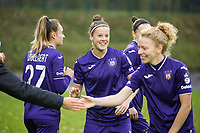 Anderlecht players pictured before a female soccer game between FC Femina WS Woluwe and RSC Anderlecht Women on the eight match day of the 2020 - 2021 season of Belgian Women's Super League , Sunday 22nd of November 2020  in Woluwe, Belgium . PHOTO SPORTPIX.BE | SPP | SEVIL OKTEM