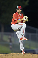 Lakewood BlueClaws relief pitcher Jonathan Hennigan (18) in action against the Kannapolis Intimidators at Kannapolis Intimidators Stadium on July 7, 2018 in Kannapolis, North Carolina. The Intimidators defeated the BlueClaws 4-3 in 10 innings.  (Brian Westerholt/Four Seam Images)
