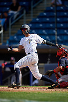 Staten Island Yankees right fielder Junior Soto (48) follows through on a swing during a game against the Lowell Spinners on August 22, 2018 at Richmond County Bank Ballpark in Staten Island, New York.  Staten Island defeated Lowell 10-4.  (Mike Janes/Four Seam Images)
