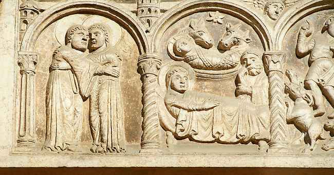 Romanesque relief sculptures  of the Romanesque Cathedral of Cremona, begun 1107, Cremona, Lombardy, northern Italy