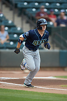 Kyle Isbel (6) of the Wilmington Blue Rocks hustles down the first base line against the Winston-Salem Warthogs at BB&T Ballpark on July 17, 2019 in Winston-Salem, North Carolina. The Blue Rocks defeated the Warthogs 4-1. (Brian Westerholt/Four Seam Images)