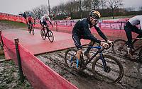 roadie Heinrich Haussler (AUS/Bahrein-McLaren) playing in the mud<br /> <br /> UCI cyclo-cross World Cup Dendermonde 2020 (BEL)<br /> <br /> ©kramon