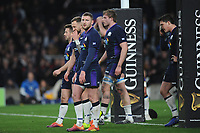 Finn Russell of Scotland looks dejected at the final whistle after England draw 38-38 in the Guinness Six Nations Calcutta Cup match between England and Scotland at Twickenham Stadium on Saturday 16th March 2019 (Photo by Rob Munro/Stewart Communications)