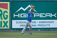 Myrtle Beach Pelicans left fielder Jacob Wetzel (55) catches a fly ball during the game against the Lynchburg Hillcats at Bank of the James Stadium on May 22, 2021 in Lynchburg, Virginia. (Brian Westerholt/Four Seam Images)