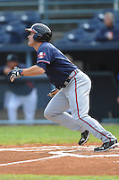 Rome Braves Matt Lipka #5 swings at a pitch during  a game against  the Asheville Tourists at McCormick Field in Asheville,  North Carolina;  May 18, 2011. The Braves won the game 8-7.  Photo By Tony Farlow/Four Seam Images