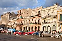 Cuba, Havana.  Buildings Opposite the Capitol on Paseo de Marti.
