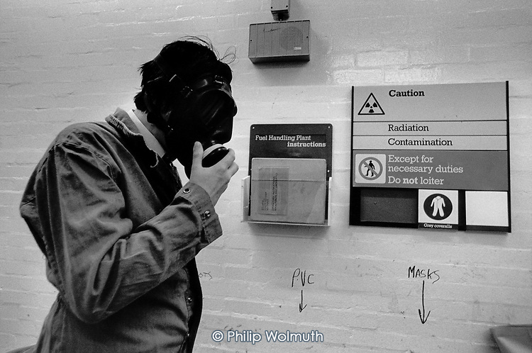 A worker prepares to enter the Fuel Handling Plant at British Nuclear Fuel's Sellafield reprocessing plant, Cumbria.