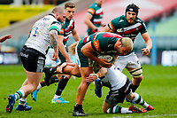 28th March 2021; Mattoli Woods Welford Road Stadium, Leicester, Midlands, England; Premiership Rugby, Leicester Tigers versus Newcastle Falcons; Ellis Genge of Leicester Tigers breaks through the Newcastle Falcons defence