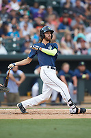 Gene Cone (9) of the Columbia Fireflies follows through on his swing against the Charleston RiverDogs at Spirit Communications Park on June 9, 2017 in Columbia, South Carolina.  The Fireflies defeated the RiverDogs 3-1.  (Brian Westerholt/Four Seam Images)